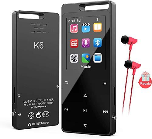 Lettore MP3 MP4,TESECU Bluetooth 5.0 Lettore Musicale Portatile HiFi con FM Radio,Registratore Vocale,Pulsante a Sfioramento,Timer,Supporto Espandibile Fino a 128 GB,per Sport e Corsa(con Cuffie)