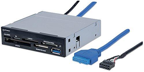 Manhattan 101967 Multi-Card Reader/Writer USB 3.0 3.5 Zoll Einbau 48-in-1 Unterstuetzt die Meisten Kartenformate