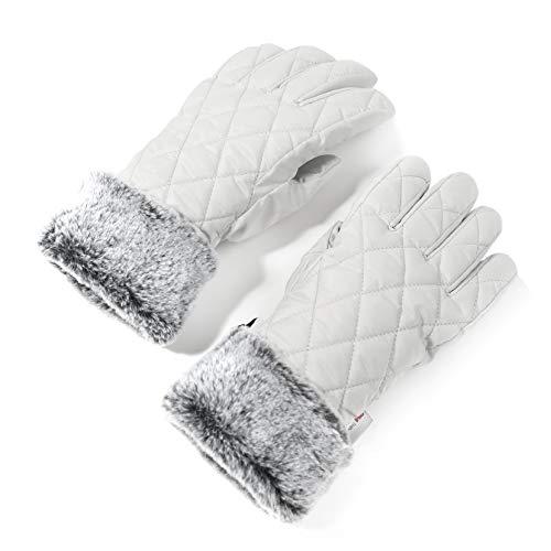 accsa Women Winter Ski Glove Waterproof 3M Thinsulate Warm Windproof Off-White M