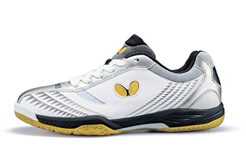 Butterfly Lezoline Gigu Shoes – Professional Competition Table Tennis Shoe for Men or Women – Excellent Shock Absorption Sneakers – Colors: Black/Red, White/Silver