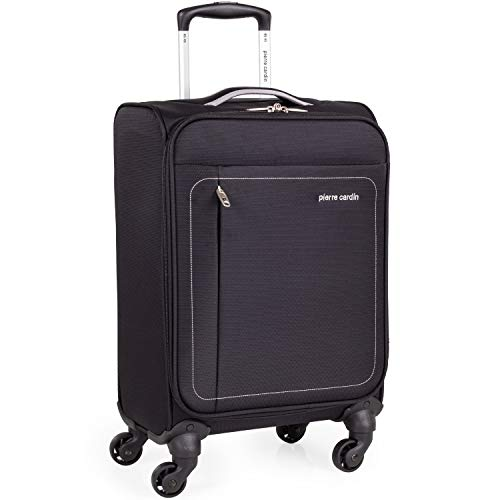 Soft Shell 21 Inch Suitcase with x4 Spinner Wheels - Cabin Aircraft Flybe Emirates Luggage by Pierre Cardin | Fits 55x35x20 Hand Carry On | 21' 30L Light 2.0kg (Black & Grey, Small 4 Wheels)