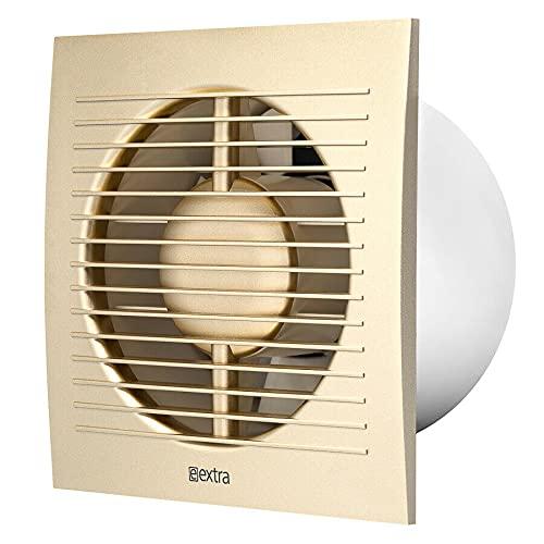 Ventilador extractor de baño de 150 mm / elegante rejilla de ventilación de cocina (con interruptor de cable y enchufe, dorado)