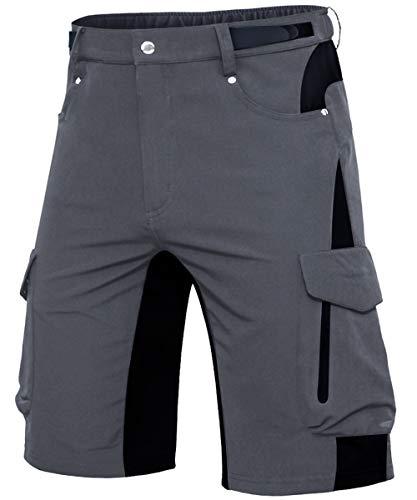 Cycorld MTB Hose Herren Fahrradhose, Schnelltrocknende MTB Shorts Herren Mountainbike Hose Baggy Bike Shorts, Atmungsaktiv Radhose mit Verstellbaren Klettverschlüssen (Neu-Grau, 3XL)