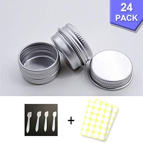 24 Stück Aluminium Leer Döschen, Rund Reise Cremedose Tiegel,5ml Leere Dosen Mit runde Aufkleber für Kosmetik, Mini-Kerzen, Creme
