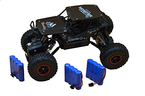 Blomiky C185 1:18 Scale 4WD Alloy Monster RC Cars Toys Off-Road Remote Control Truck RC Vehicle Crawler Extra 2 Battery for Boy Kids C185 Black