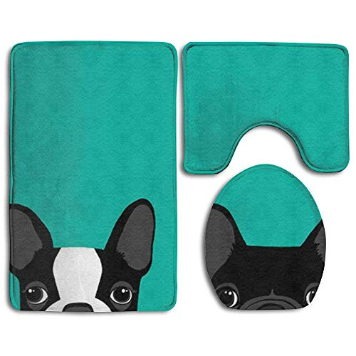 MEWSGK Printing Toilet Seat Cover Thick Flannel Nonslip Decorate Bathroom Carpet 3piece Boston Terrier and French Bulldog