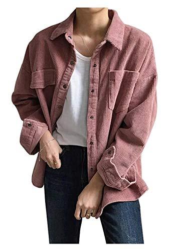 CYSTYLE Retro Vintage Damen Cord Hemd Cordjacke Freizeit Jacken Oberteile Casual Langarm Outwear (Rosa, One Size(Fit 32-38))
