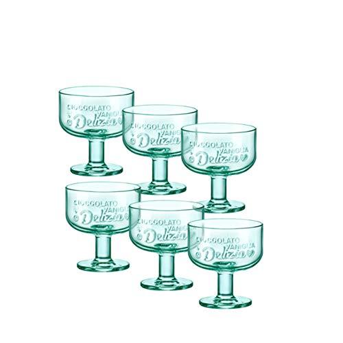 Bormioli Rocco Graphica - Vasos de postre (6 unidades), color verde