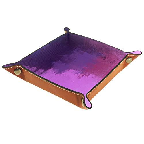KAIXINJIUHAO Boîte de rangement en cuir microfibre pour fournitures de bureau, articles de papeterie, articles divers, 16 x 16 cm