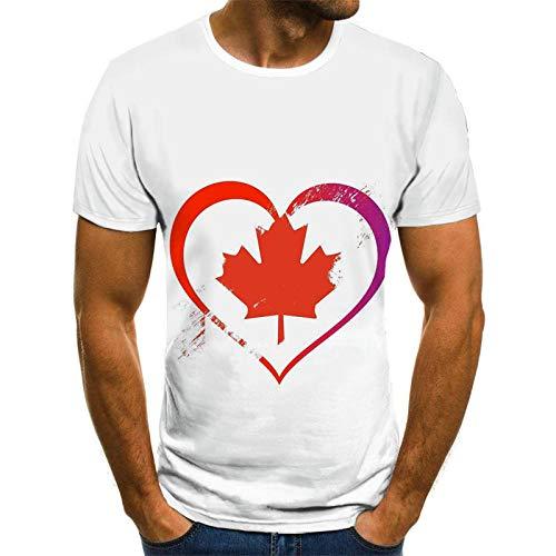 HGFHKL Hojas en Forma de corazón Impresión 3D Camiseta de Manga Corta para Hombre Camiseta Casual de Verano con Cuello Redondo Patrón Divertido