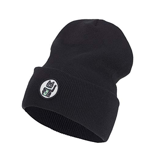 Nebelkind Beanie Winkekatze Schwarz Turn-Up Oversized Mütze One Size