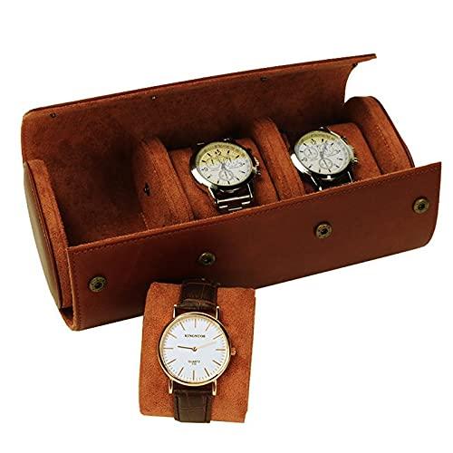 Chytaii 3 compartimentos para relojes retro, de piel sintética de poliuretano, bolsa de viaje elástica, organizador de reloj, caja de almacenamiento para hombres y mujeres