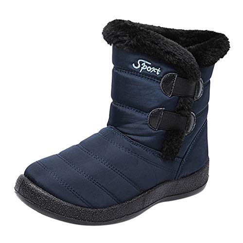 Hechun Womens Winter Solid Color Boots Keep Warm Ankle Booties Sport Winter Water-Repellent and Mid-Tube Boots Blue