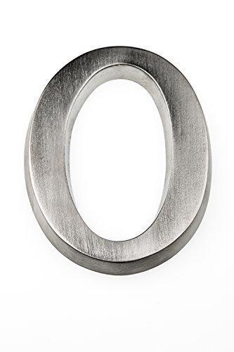 HUBER Hausnummer 0 aus Aluminium 10 cm I Hausnummern für Haus & Tür - Hausnummernschilder in edlem Aluminium 3D Design, House number, eloxiert