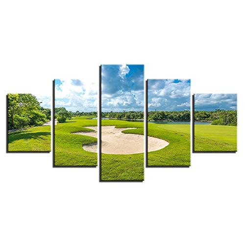5 piezas de carteles de campo de golf impresiones HD azul cielo verde césped imágenes decoración del hogar pinturas en lienzo arte de pared de sala de estar-16x24/32/40inch With frame