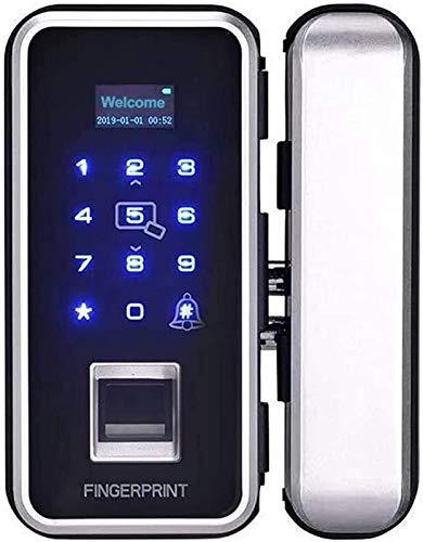 SHKUU Cerradura Puerta Vidrio Inteligente sin Marco Cerradura Huella Digital Cerradura Teclado Digital con Enchufe Tierra para el hogar u Oficina
