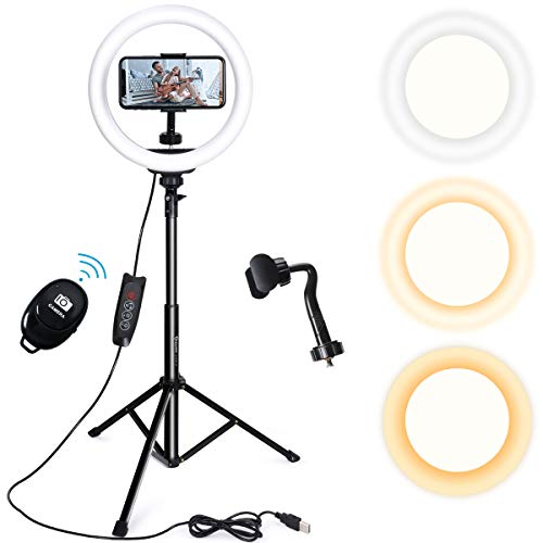 Endurax 10'' Selfie Ring Light with Tripod Stand and Phone Holder for iPhone Android, Dimmable LED Circle Light O Ringlight for Makeup/TikTok/Video Recording/YouTube/Streaming with Bluetooth Shutter