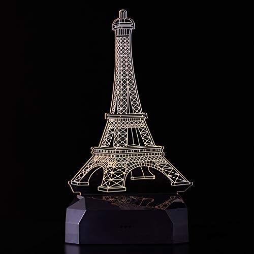 Sarsen&Co. LED Lampe mit Eifelturm 3D Visualisierung Stimmungslicht Nachtlicht 16 Farben mit Fernbedingung + Akku Dekorative Idee für Liebe und Geschenk