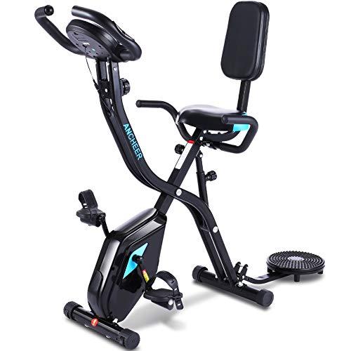 ANCHEER Heimtrainer Fahrrad,3-In-1 Klappbar Hometrainer Ultrasport f-Bike Advanced,Klappbarer Trainingsrad Crosstrainer für Zuhause mit 10 Stufig Magnetwiderstand APP Programm Digitaler Monitor