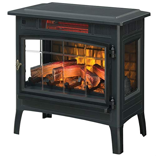 Swag Pads Black Infrared Quartz Electric Fireplace Stove Heater
