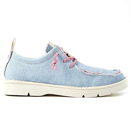PANCHIC P19 - Zapatos de mujer de lino azul - P19W18018C1 C80037 - Talla Size: 36 EU