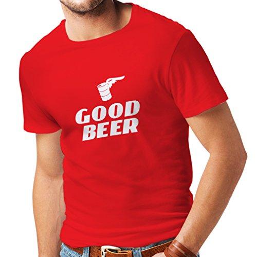 lepni.me Männer T-Shirt Ich Brauche EIN gutes Bier, Geschenk für Bierliebhaber Partykleidung (XX-Large Rot Weiß)