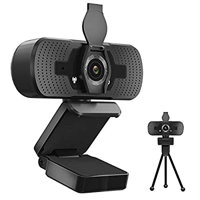 2020 2K Webcam with Microphone Privacy Cover Tripod