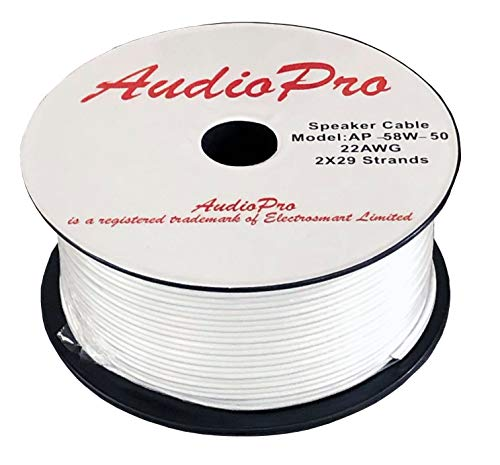 AudioPro Speaker Cable Wire 22 AWG (2 x 29 Strands) Select 25m or 50m Reel Colour White Clear Transparent HiFi Home Audio Surround Sound etc (50m Reel, White)