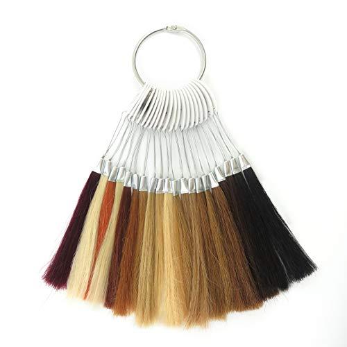 RemeeHi Haarmuster zum Testen der Farbe Haarfarbe, Ringe mit weißen Schnallen, Echthaar, für Friseursalon, 20 Farben, 20 Strähnen