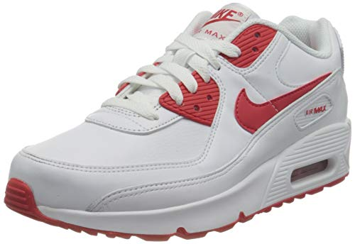Nike Air Max 90 Ltr (Gs) Laufschuh, White Hyper Red Black, 40 EU
