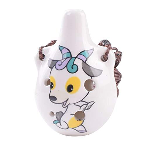 EXCEART Chinesische Flöte Xun Cartoon Schaf Maskottchen Keramik Muster Okarina Alten Windinstrument Desktop Ornamente für Kinder Kinder Anfänger Geschenk
