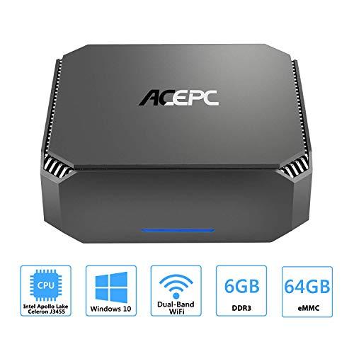 ACEPC Mini PC 8 GB RAM 120 GB Rom Mini computadora ... gris 6 GB RAM + 64GB ROM Win 10 Celeron J3455
