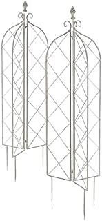 BestNest Set of 2 Gardman Folding Finial Obelisks, Antique White, 63
