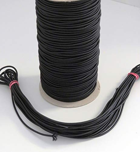 MB Gummikordel, 3 mm Bandstärke, Bandfarbe schwarz, 65% Dehnung, 10 Meter am Stück