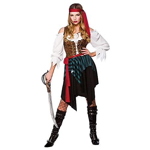 Caribbean Pirate Ladies Fancy Dress Costume Small 38-40