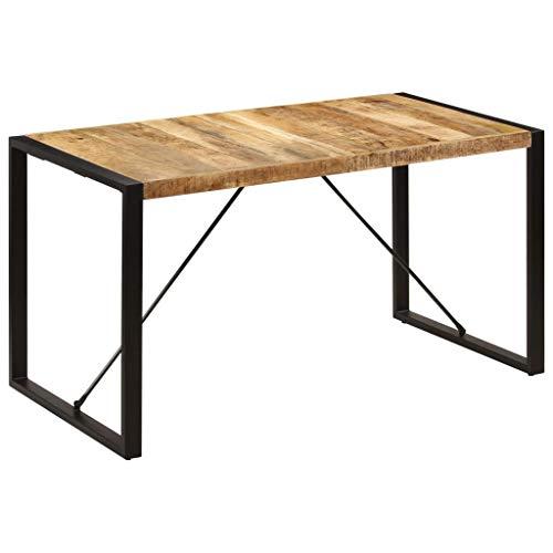 vidaXL Solid Mango Wood Dining Table Durable Long Service Life Modern Design Home Indoor Kitchen Office Dinner Furniture 140cm