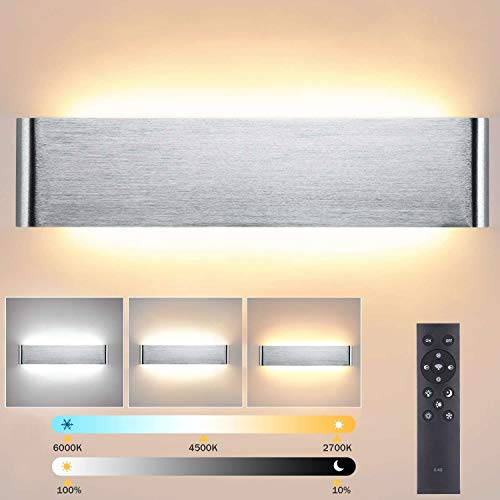 Lightess Apliques de Pared LED Regulable 24W 40CM Lámpara de Pared Interior Moderna Brillo Ajustable con 2.4G Control Remoto Luz de Aluminio para Salón Dormitorio Baño Escalera, Plata (2700K-6500K)
