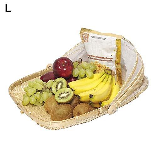 Handgewebter Lebensmittel Servierkorb,staubdichter Picknickkorb, quadratisch und rund,Lebensmittelzeltkorb mit Netzgewebebezug, verwendet für Gemüse,Obst und Brot, für den Außenbereich, Party, Zuhause