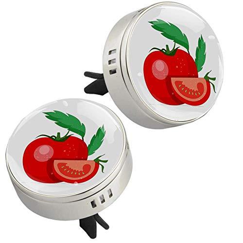 Verduras y tomates Clip de ventilación de difusor de coche de cristal con metal 2 piezas Ventiladores de aromaterapia Aceite esencial Medallones de difusor de coche 34mm