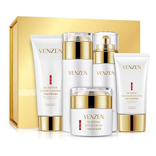 VENZEN Six Peptide Conditioning Skin Care Balance Water Natural Moisture Toner Set Cleanser Hydro Emulsion BB Cream 6PCS GIFT SET 100g+120ml+80ml+50g+40g