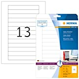 HERMA Etichette per supporti dati Video, 147,3 x 20 mm, Etichette Adesive A4 per Stampante, 13 Etichette per Foglio, Bianco