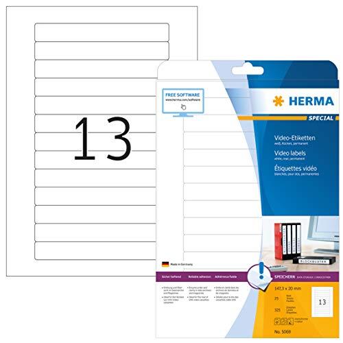 HERMA 5069 Video Etiketten für VHS-Kassetten Rücken DIN A4 (147,3 x 20 mm, 25 Blatt, Papier, matt) selbstklebend, bedruckbar, permanent haftende Videokassetten Aufkleber, 325 Klebeetiketten, weiß