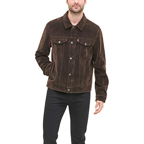 Levi's Men's Leather Classic Trucker Jacket, Dark Brown Faux, Small