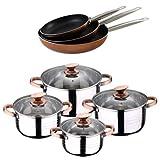 San Ignacio BATERUA 8 Piezas SIP + Set 3 SARTENES Professional Chef Copper 20,24 Y 28 CM Batería De Cocina, Cromado
