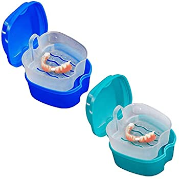 KISEER 2 Pack Colors Denture Bath Case Cup Box Holder Storage Soak Container with Strainer Basket for Travel Cleaning  Light Blue and Blue