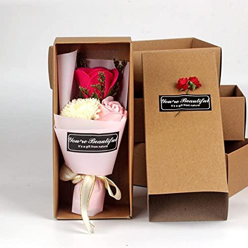 Ramo Flores Rosa, Ramo Rosa Artificiales de Jabón con Caja de Regalo, Regalo Ideal para el día de San Valentín, día de la Madre, Aniversario, cumpleaños, decoración (Rosa)