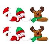 Amosfun Segnabicchieri Natale per Bicchieri da Vino Forma Babbo Natale Pupazzo di Neve Ren...