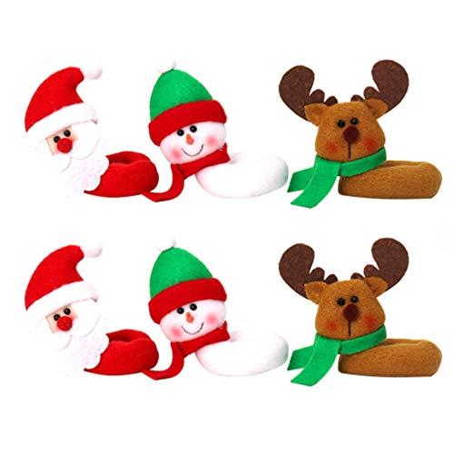 Amosfun Segnabicchieri Natale per Bicchieri da Vino Forma Babbo Natale Pupazzo di Neve Renna 6 Pezzi
