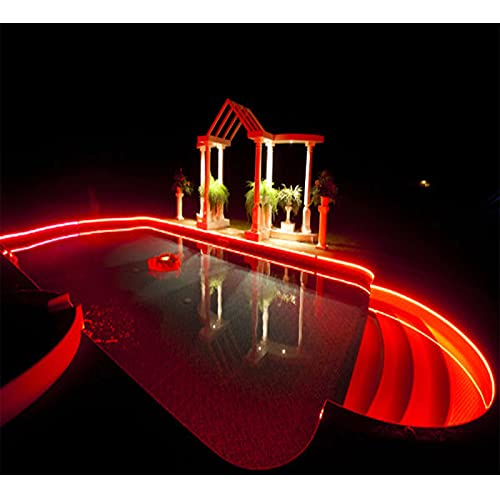 Windpnn Solar Waterproof Strip Lights Red, 8 Modes Self-Adhesive Cuttable Outdoor Led Strip Lights 19.8Ft 180Led Solar Powered String Ligts for Patio Garden Backyard Porch Christmas Decor