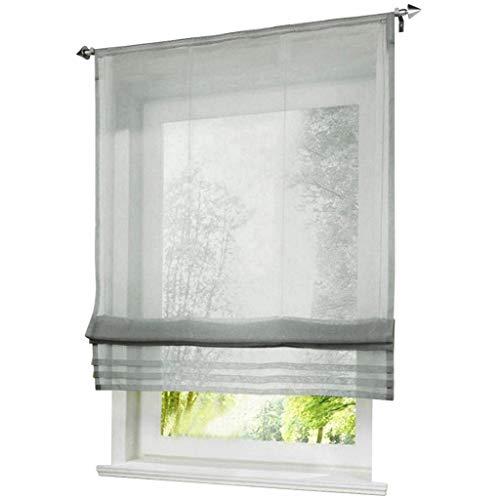 ESLIR Raffrollo Küche Raffgardine mit Tunnelzug Bändchenrollo Weiß Voile Gardinen Transparent Hellgrau BxH 140x155cm 1 Stück